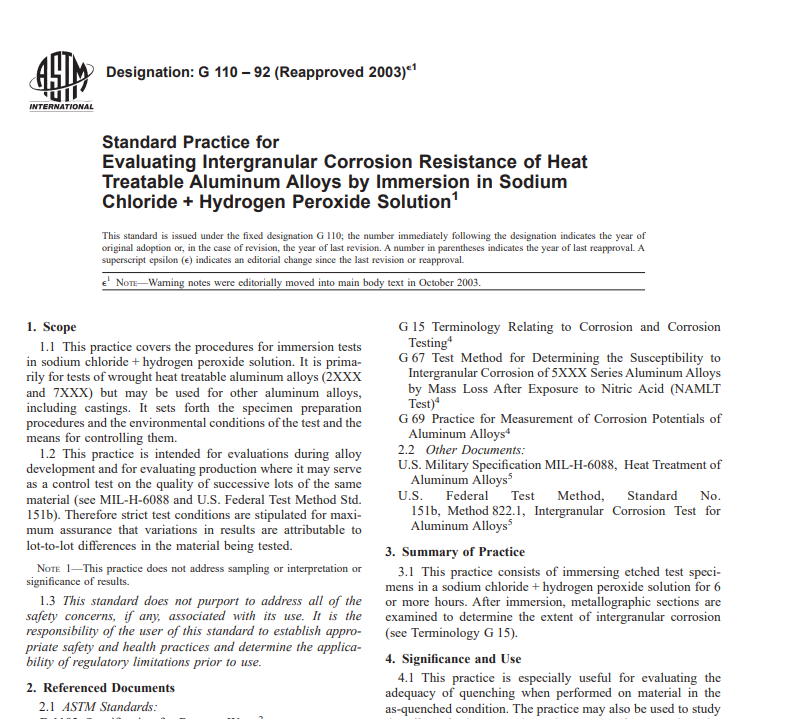 Astm G 110 – 92 (Reapproved 2003) pdf free download